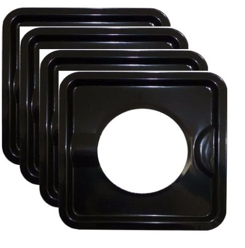 KHY (4) 8' x 8' HEAVY DUTY BLACK STEEL SQUARE REUSABLE DRIP PAN GAS BURNER BIB LINER COVERS