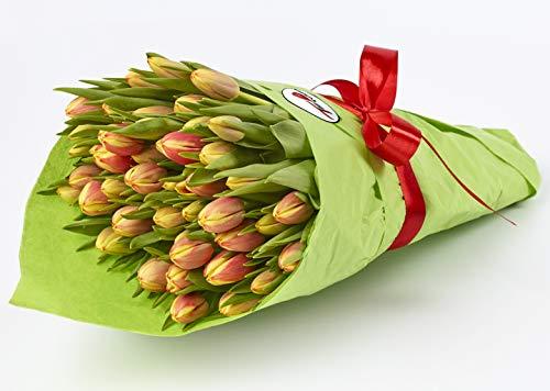 Tulpen - 50 Stück - Rot-Gelb - Frische Schnittblümen - Geschenk - Tulpenstrauß - Muttertag