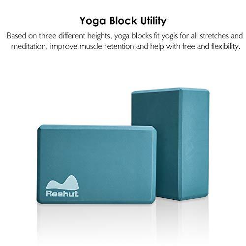 Reehutヨガブロック(2個)、23cmx15cmx10cm―高密度EVA発泡体ブロック、ポーズ補助や改善、体力増強、バランス補助や柔軟性向上に最適-軽量、耐臭性&防湿性(ターコイズ)