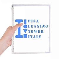 ピサの斜塔タワーイタリア 硬質プラスチックルーズリーフノートノート