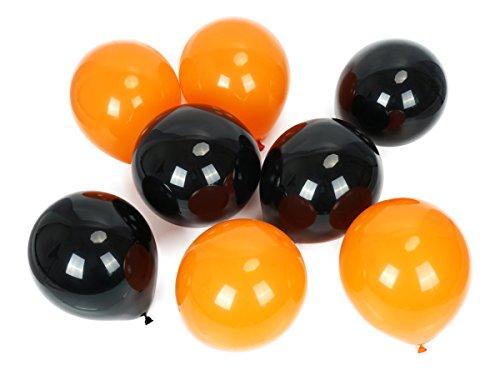 CoolChange Luftballons 200St. 100x Schwarz, 100x Orange, Helium geeignet