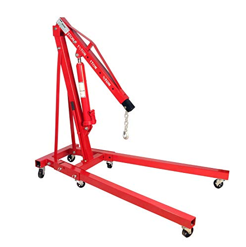 Dragway Tools 2 Ton Folding Hydraulic Engine Hoist Cherry Picker Shop Crane Hoist Lift with 6 Fully Rotating Caster Wheels