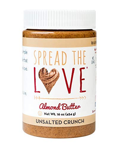 Spread The Love UNSALTED CRUNCH Almond Butter, 16 Ounce, All Natural, Vegan, Gluten Free, Creamy, No Added Salt or Sugar, No Palm Fruit Oil, Not Pasteurized with PPO, Made in California
