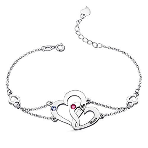 Personalisierte Gravur Name Birthstones Interlocking Herz Silber Armband(Silber 5.5)