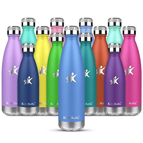 KollyKolla Botella de Agua Acero Inoxidable, Termo Sin BPA Ecológica, Botellas Termica Reutilizable Frascos Térmicos para Niños & Adultos, Deporte, Oficina, Yoga, Ciclismo, (350ml Azul Medio)