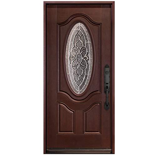exterior doors Fiberglass Door Exterior Doors Pre-Hung Wood Door in Dark Mahogany Finished Front Entry Single Door for Entrance House Home Door(Left-Hand, Single Door 36