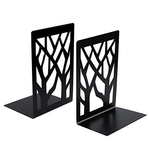 Sujetalibros Sujeta Libros Estanteria de Metal Sombra del árbol Apoya Libros Soporte de Libro para Hogar, Oficina y Escuela 1 Pares (Negro)