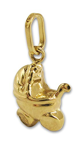 Kleine kinderwagen hanger van 585 goud geelgoud