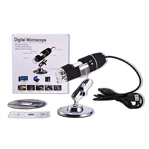 Tamaño portátil LED Microscopio Digital USB Endoscopio Cámara Microscopio Lupa Microscopio electrónico con Soporte (Negro) -BCVBFGCXVB
