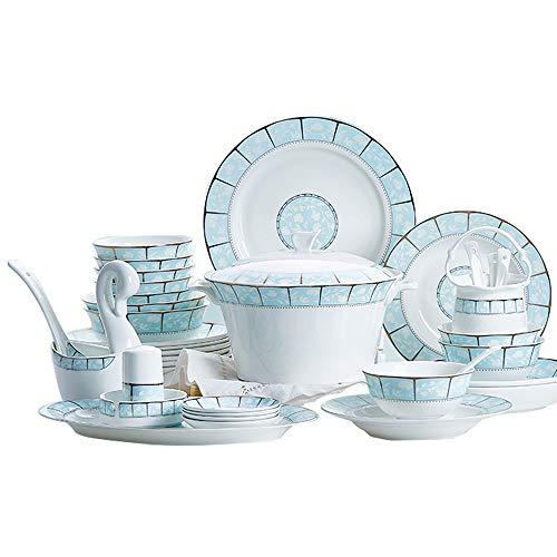 YUN&DSC Juego de vajilla de cocina de 56 piezas/60 piezas, platos, cuencos, tazas, servicio para 10 – 12 personas, caja de regalo para platos europeos (color 56 piezas, estilo uno)