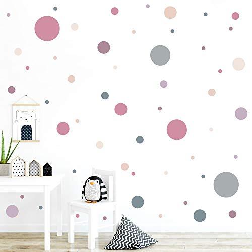 malango® 78 Wandsticker in vielen verschiedenen Farbkombinationen Punkte Kinderzimmer Wandtattoo Kreise selbstklebend Altrosa-Flieder-beige-grüngrau