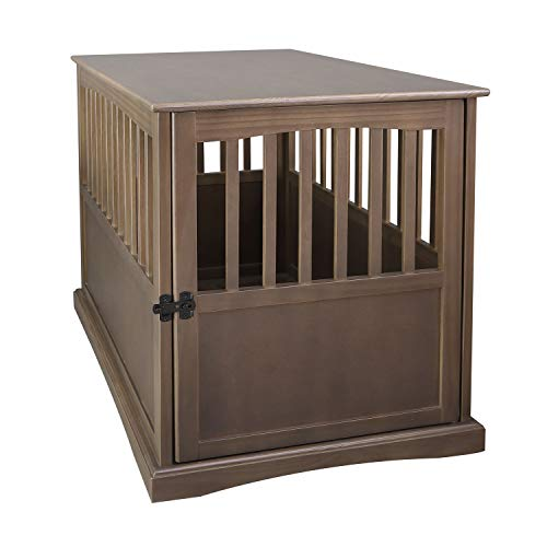 Casual Home Large Wooden Indoor Pet Crate Dog House Kennel End Table Night Stand Furniture, Taupe Gray Crates Furniture-Style