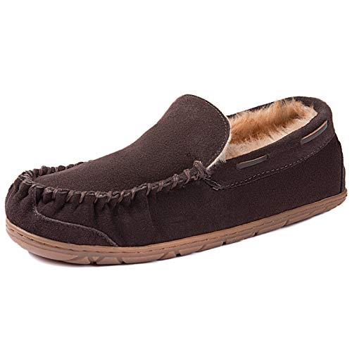 ULTRAIDEAS Men's Genuine Suede Leather Moccasin Slippers, Cozy Memory Foam House Shoes with Fuzzy Lining Outdoor Rubber Sole (Coffee, Size 10)