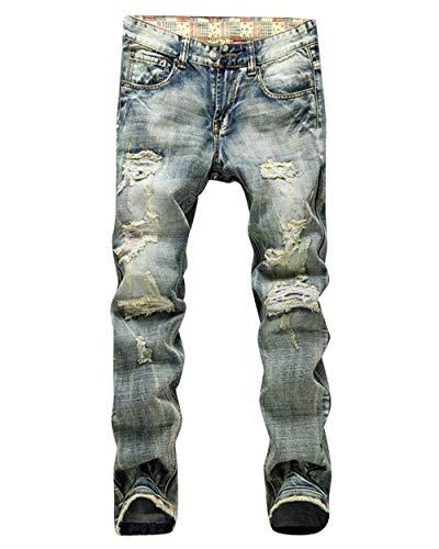 BoBoLily Pantalones Vaqueros De Los Hombres Pantalones Rodilla De Destruidos Vestir Unique Stlie Vintage Ajustados Delgados Rasgados Pantalones Vaqueros Elásticos Pantalones De Mezclilla
