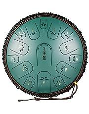 XIAOSHI スリットドラム 金属ドラム 15トーン14インチ スチールドラム さまざまな最新カラー ヨガの瞑想 音楽療法 癒し 疲労療 説明書&楽譜/マレット/指カバー/トートバッグが付属 (緑)