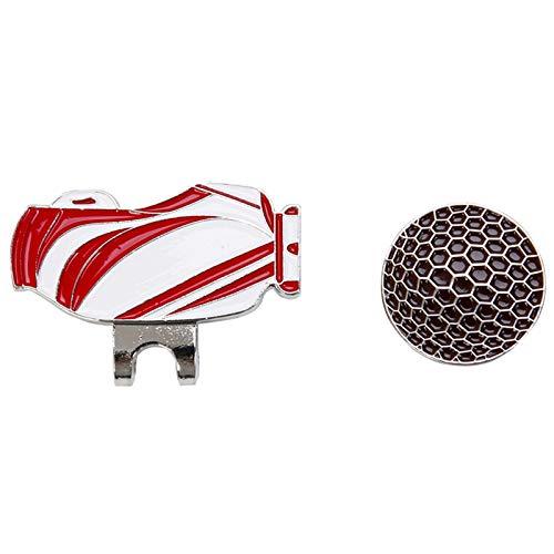 Qiyun Marqueur pour Balle de Golf avec Clip magnétique, Chapeau, Clip de Balle de Golf Clip délicate pour Boisson, Rouge