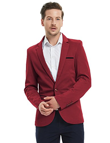 Pishon Men's Slim Fit Suits Casual One Button Flap Pockets Solid Blazer Jacket Business Daily Blazer, Wine Red, X-Small