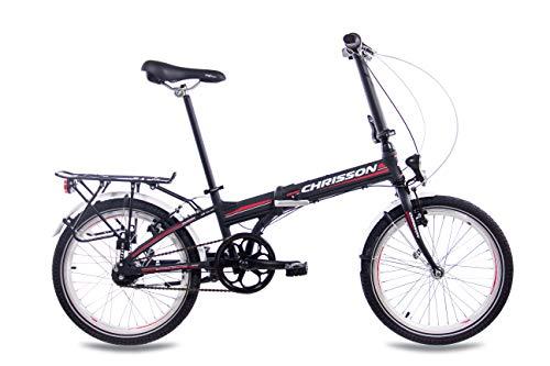 CHRISSON 20 Zoll Faltrad Klapprad - Foldrider 3.0 schwarz - Faltfahrrad für Herren und Damen - 20 Zoll klappbares Fahrrad mit 7 Gang Shimano Nexus Nabenschaltung - Folding City Bike - 2