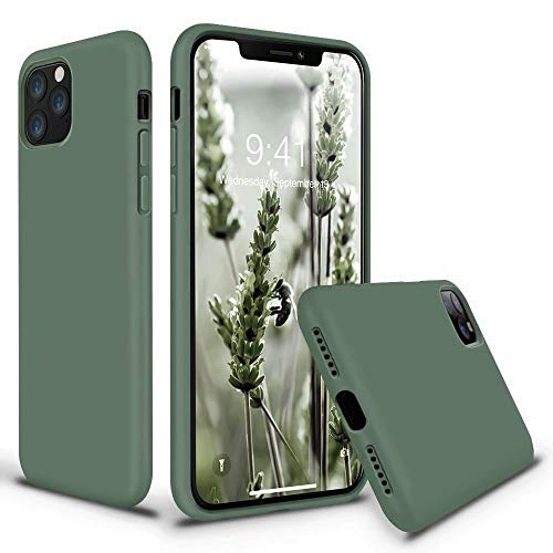 Vooii iPhone 11 Pro Max Case, Soft Liquid Silicone Slim Rubber Full Body Protective iPhone 11 Pro Max Case Cover (with Soft Microfiber Lining) Design for iPhone 11 Pro Max - Pine Green