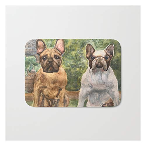 Society6 French Bulldogs at The Ready by Perry Payne Art & Design on Bath Mat - 17' x 24'