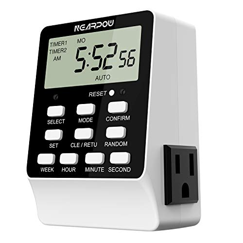 Outlet Timer, NEARPOW Dual Digital Light Timer with 2 Independently-controlled Outlets, 18 ON/OFF...