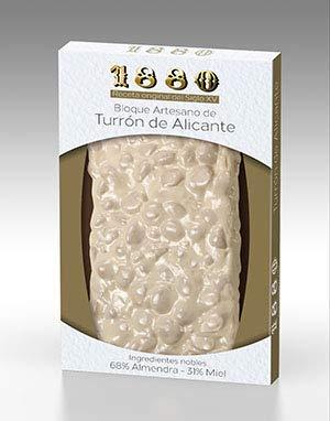 1880 - Turrón de Alicante Artesano Receta Siglo XV elaborado con Almendra Seleccionada y Miel de Azahar | Textura Crujiente, Turrón Tradicional Sin Gluten 220G 220 g