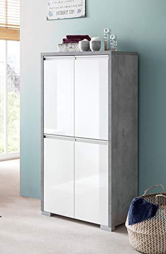 Schildmeyer Bello Kommode 701603, steingrau/weiß glanz, 63,5/33,1/120,8 cm