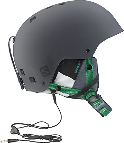 Salomon, Unisex Park and Pipe-Ski- und Snowboardhelm, ABS Schale, EPS Innenschale, grau (Grau/Grün), M (56.5-57.5 cm)