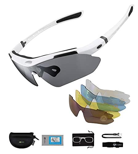 Mantimes Gafas de sol deportivas polarizadas con protección UV con 5 lentes intercambiables TR90 marco irrompible (blanco gris)