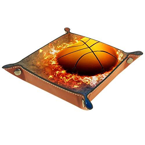 Bandeja de Cuero - Organizador - Cartel de baloncesto - Práctica Caja de Almacenamiento para Carteras,Relojes,llaves,Monedas,Teléfonos Celulares y Equipos de Oficina