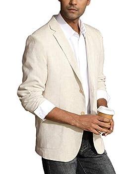 Men s Notched Lapel Collar Blazer Lightweight Linen Blazer Sport Coat Khaki XL