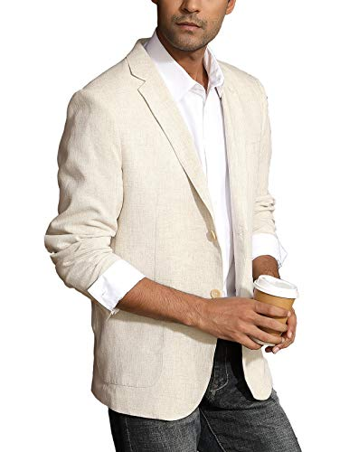 COOFANDY Mens Cotton Casual Two Button Lapel Blazer Jacket Lightweight Sport Coat Black