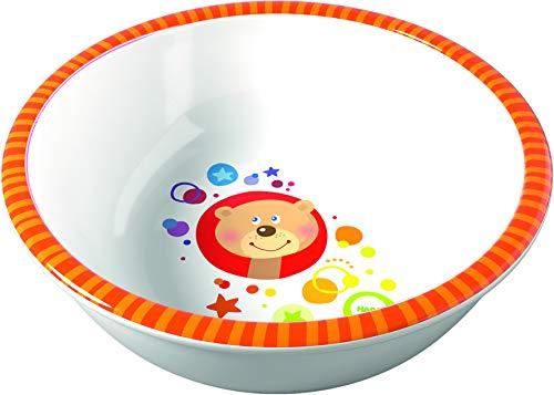 HABA 304466 - Schüssel Regenbogenfarben, Schüssel für Kinder aus Melamin mit Bären-Motiv, für die Spülmaschine, verrutscht nicht