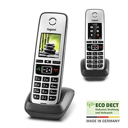 Gigaset Family IP-Telefone– 2 Schnurlose Telefone zur Anbindung an alle gängigen Router, großes Farbdisplay - Duo-Set, anthrazit-grau