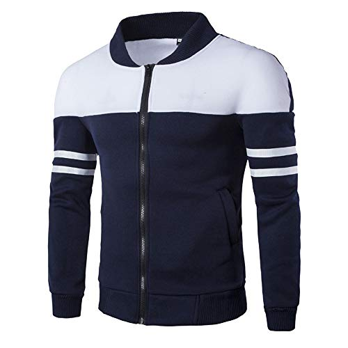 SANFASHION Manteau Col Haut Vest Manche Longue Vest Baseball Couture Rayure Jackets Classique Homme Manteau Blouson Sweat Zippe (Marine,M)