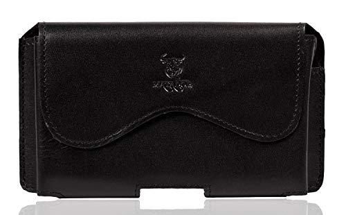 MATADOR Lederhülle kompatibel mit Samsung A71 / Xcover PRO Ledertasche Gürteltasche Gürtelschlaufe Magnetverschluss Crazy Black Schwarz