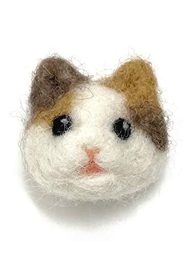[Cherry] 羊毛フェルト ふわふわ ネコちゃん 三毛猫 ブローチ A969