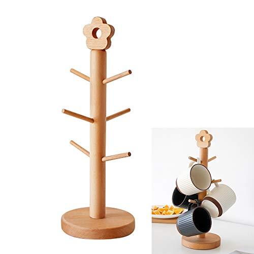 JIESD-Z - Soporte para tazas, 6 ganchos, soporte de madera, soporte para tazas de cocina con base pesada, soporte expositor para tazas de café, estante organizador de almacenamiento