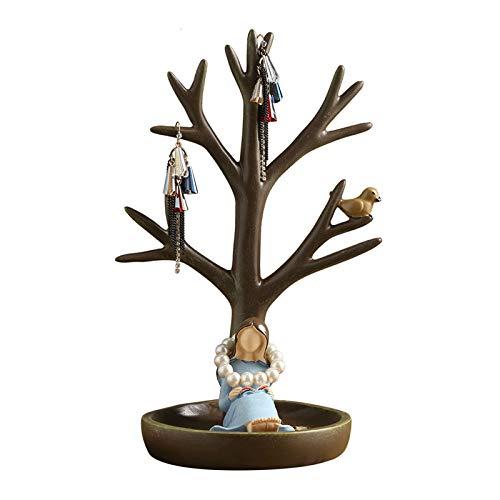 liushop Joyero Resina Desktop Jewelry Rack Jewerly Tree Stand Anillo Holder Colgante Pendiente Bandeja Joyería Mostrar Almacenamiento Organizador Decoración para Mujeres Cajas para Joyas