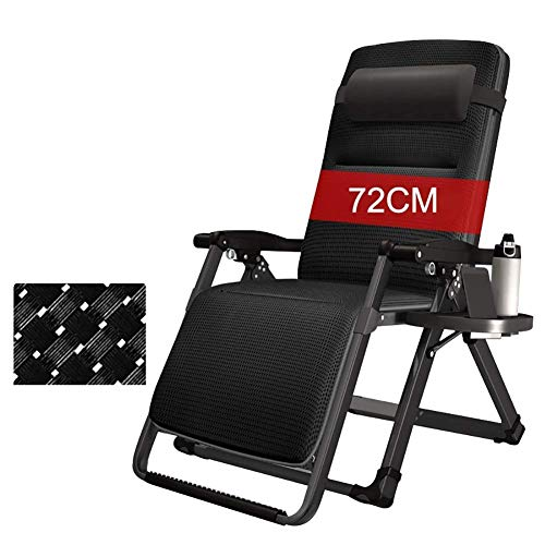 OESFL Sun Loungers Zero Gravity Chair, Garden Lounge Recliner Chair Outdoor with Cup Holder Trays for Patio, Beach, Lawn, Camping, Pool (Color : Black)