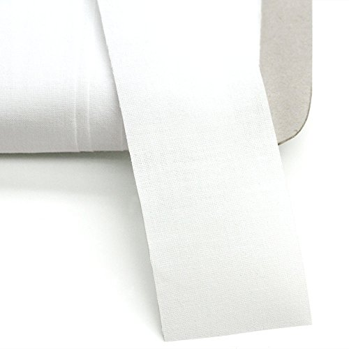 """100% Cotton 2"""" Wide White Straight Tape, 27 Yards, Made in Italy"""