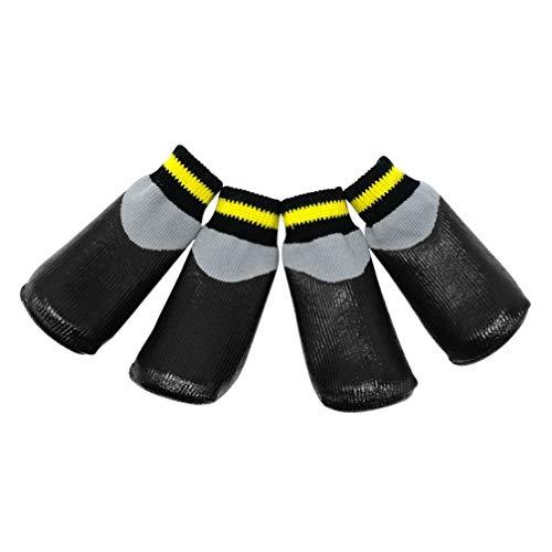 POPETPOP Stivali per Cani Scarpe da Cane protettive Impermeabili Stivaletti Invernali con Calzini Antiscivolo per Cani di Taglia Medio-Piccola - Nero (Taglia 4)