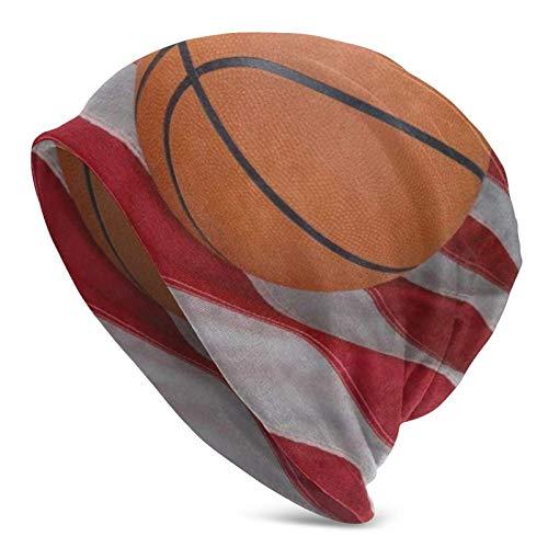Gorra de Calavera Baloncesto Bandera de EE. UU. Unisex Gorro de Gorrita Tejida Sombrero de Punto cálido de Invierno