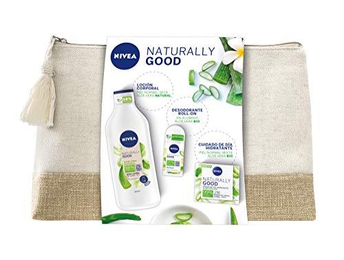 NIVEA Neceser Naturally Good Cuidado Natural con Aloe Vera, set de regalo con loción hidratante (1 x 350 ml), crema de día (1 x 50 ml) y desodorante roll on (1 x 50 ml)