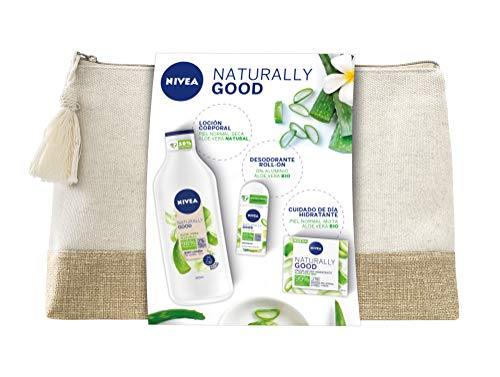NIVEA Neceser Naturally Good Cuidado Natural con Aloe Vera, set de regalo con loción hidratante (1 x 350 ml), crema de día (1 x 50 ml) y desodorante roll on (1 x 50 ml)