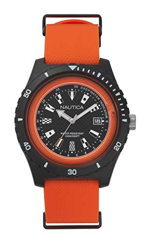 Nautica Herren Analog Quarz Uhr mit Silikon Armband NAPSRF003