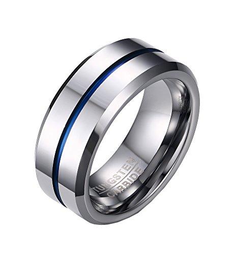 PMTIER Hombres 8MM Azul EstriadoTungsteno Anillo de bodas Plata Tono Talla 22