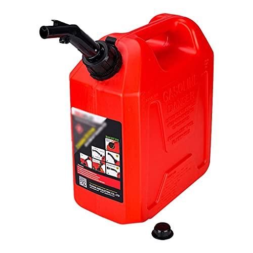 TYX Bidón Gasolina plástico 10l, garrafa Gasolina Engrosado con Tubo guía Aceite, bidón plástico Transporte Viaje Acampar garrafa Agua,Rojo,10L
