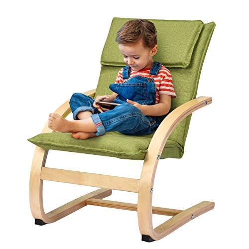 COSTWAY Kindersessel Birke Kinder Schwingsessel Schaukelstuhl Schaukelsessel Kinderstuhl Holz Relaxsessel Kindermöbel belastbar bis 120kg