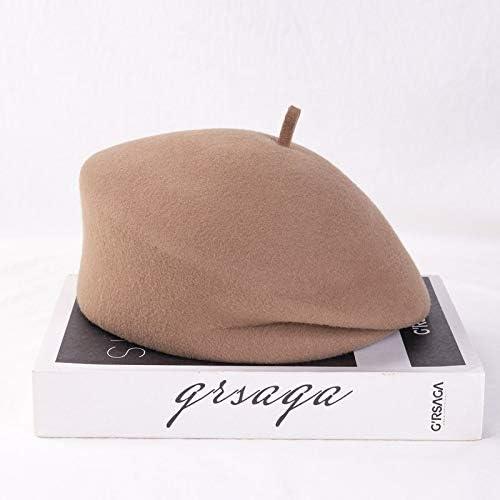 TWDYC Autumn Winter Wool Fold Solid Beret Hat Men Women Leisure Star Painter Hat Beret Hat (Color : A)